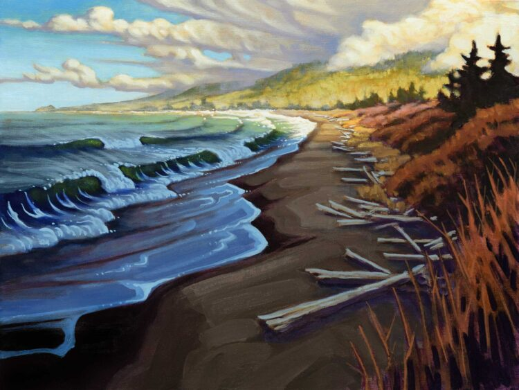 A painting of a passing storm looking toward the Oregon border on the Del Norte coast of northern California