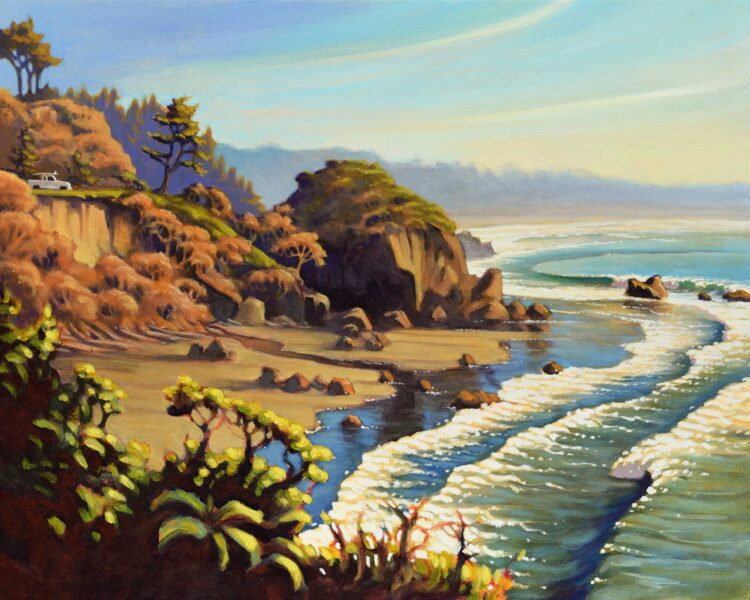 A painting of the beach at Houda Point near Camel Rock on Humboldt county's Trinidad coast in northern California