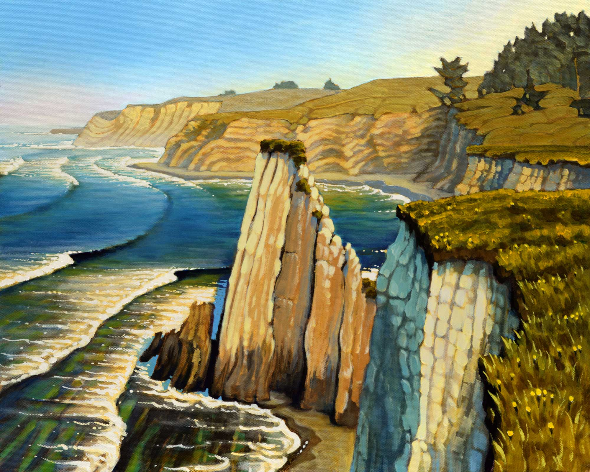 A plein air painting of the steep cliffs of the Pelican Bluffs trail on the Mendocino coast of northern California