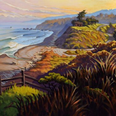 A painting of the view overlooking Irish Beach on a clear morning on the Mendocino coast of northern California