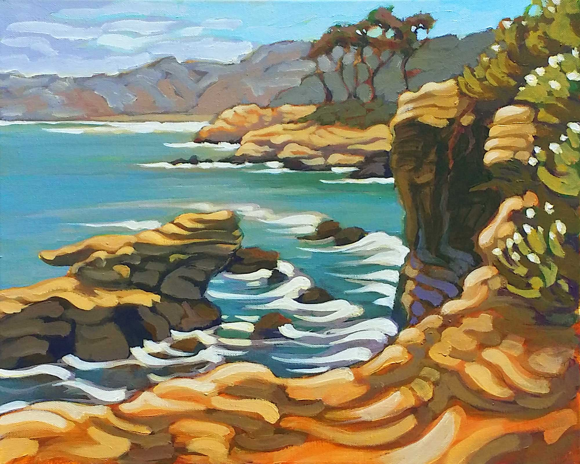 Plein air landscape painting of weather rock formations at La Jolla Cove in San Diego on the southern California coast