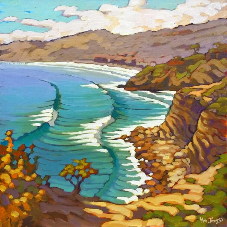 Plein air painting of Slides at La Jolla Cove looking toward La Jolla Shores in San Diego on the southern California coast