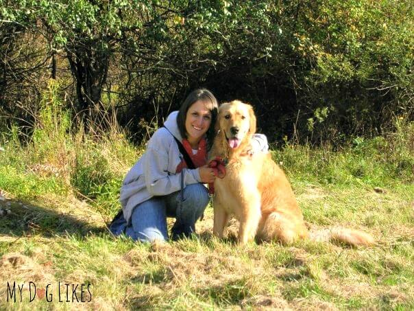 Rach and Harley on a hike at Mendon Ponds Park in Rochester, NY