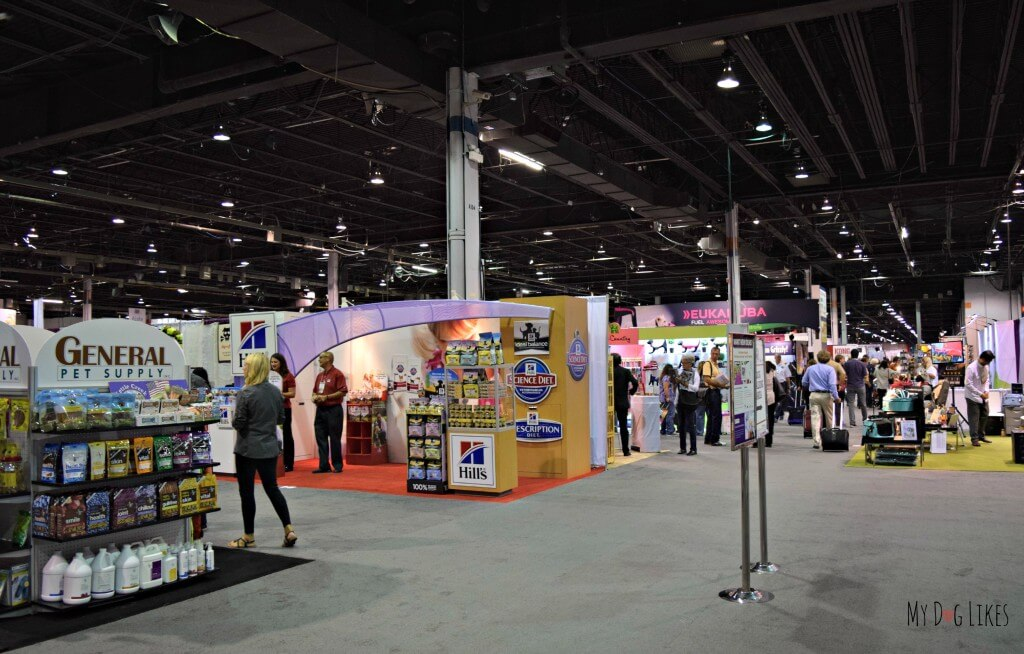 Some of the many exhibitors at Backer's Total Pet Expo in Chicago