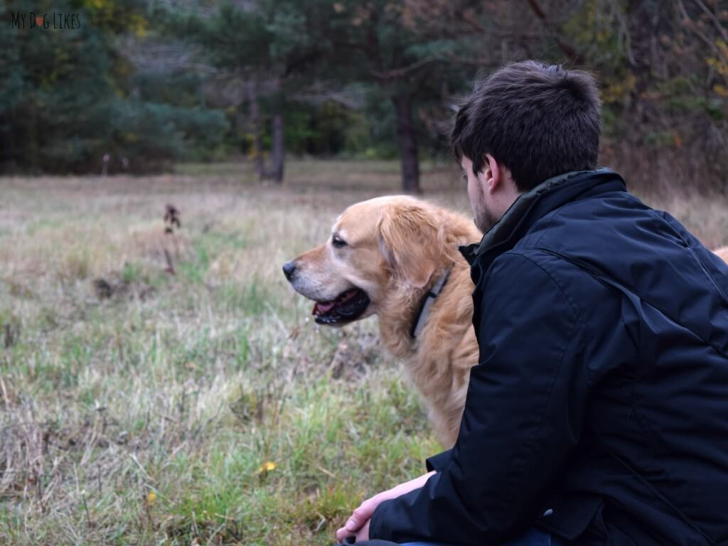 Harley and I enjoying the view and peaceful quiet on the Small Meadow Trail at Gosnell Big Woods.