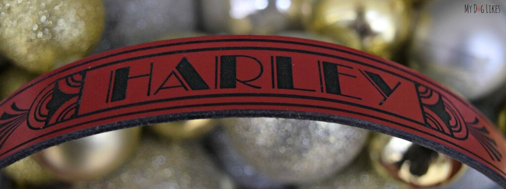 Our personalized RUHA Leather Dog Collar. The collar is laser engraved and absolutely beautiful!
