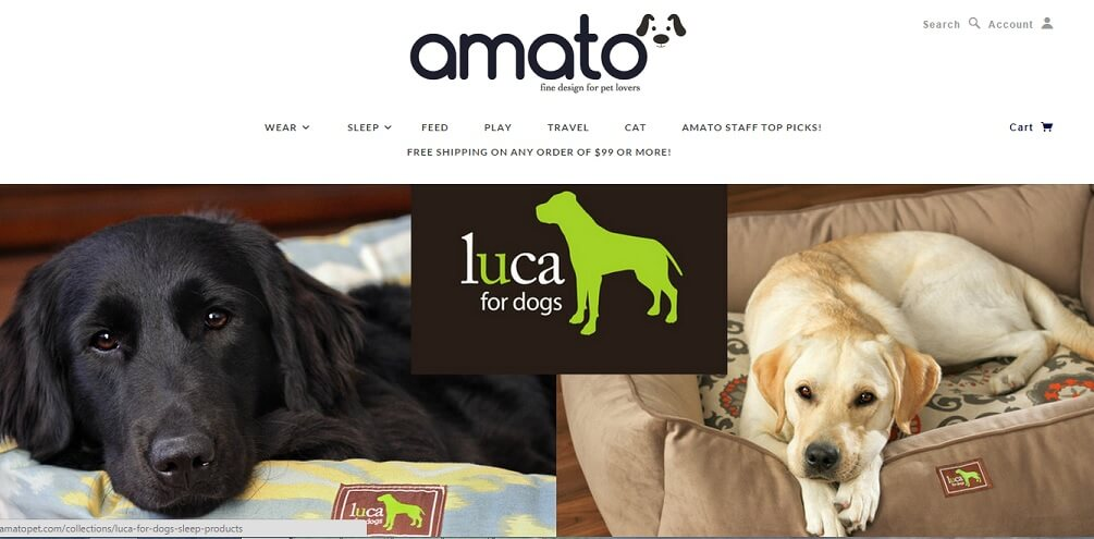 A screenshot of AmatoPet.com - an online pet store specializing in high quality and beautiful pet products