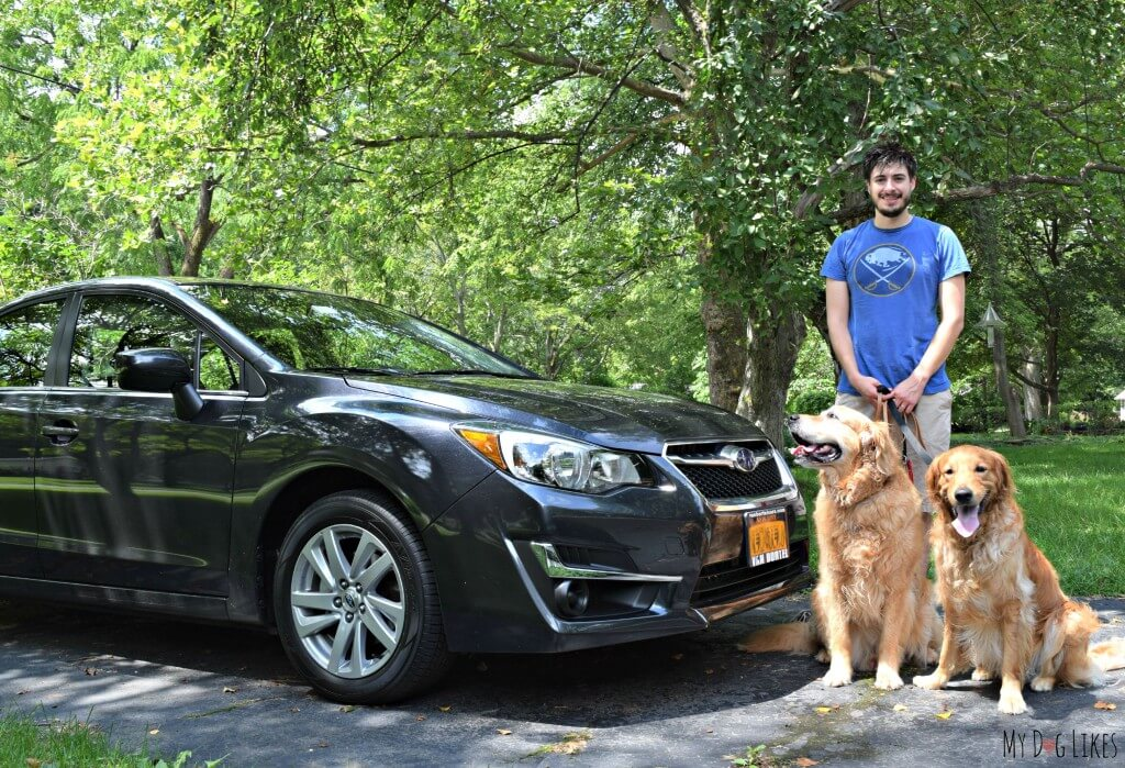 Getting ready to take the dogs on their first ride in our new Subaru Impreza!