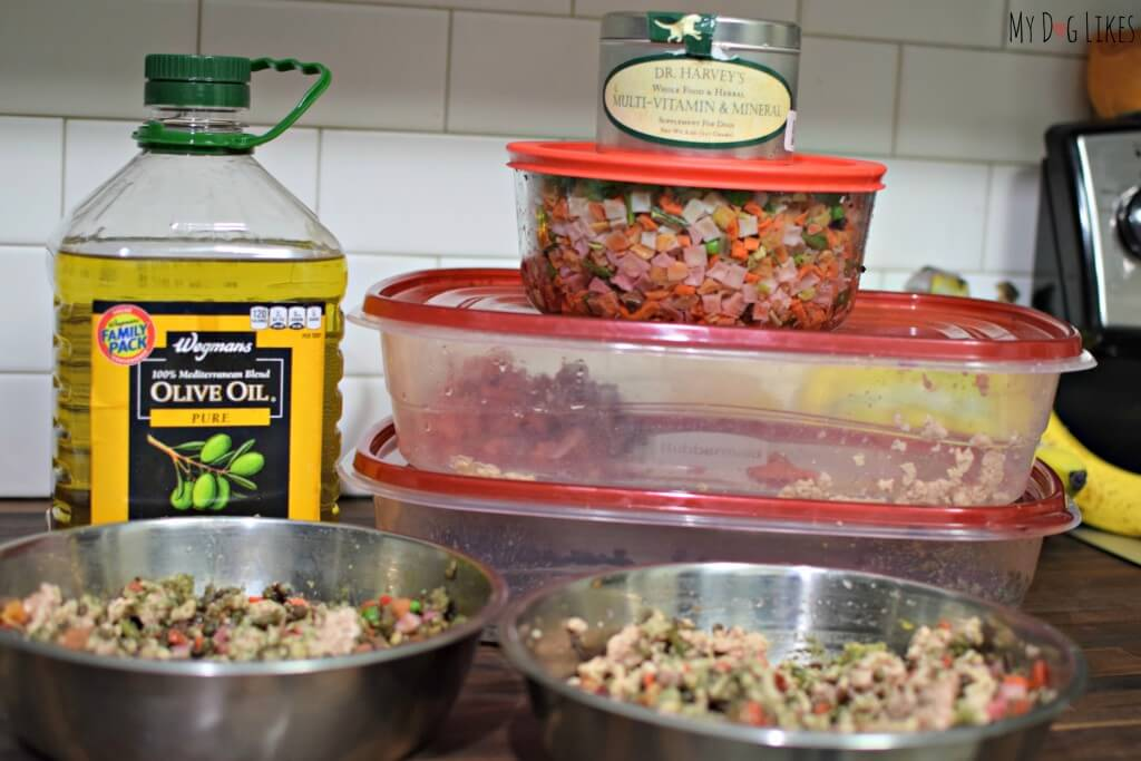 Ingredients for prepping a fresh homemade meal for our dogs.