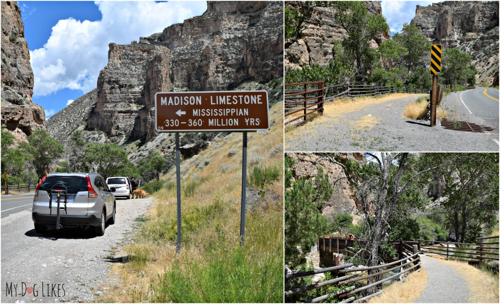 The sign and small pull-off marking the entrance to the Beef Trail in Bighorn National Forest