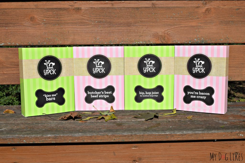 A selection of dog treats and wellness products from YPCK