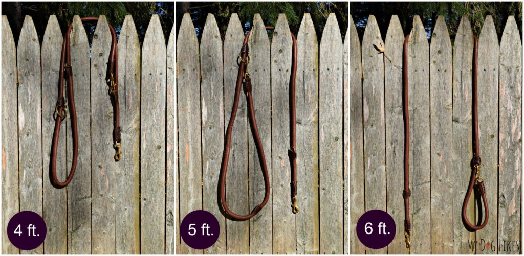 The HUND multi-functional dog leash can adjust in length from 4, to 5, to 6ft!