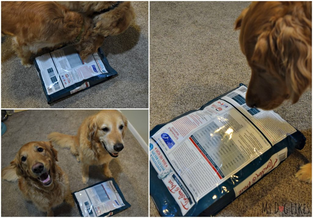 Harley and Charlie always check the ingredient label before trying a new dog food!