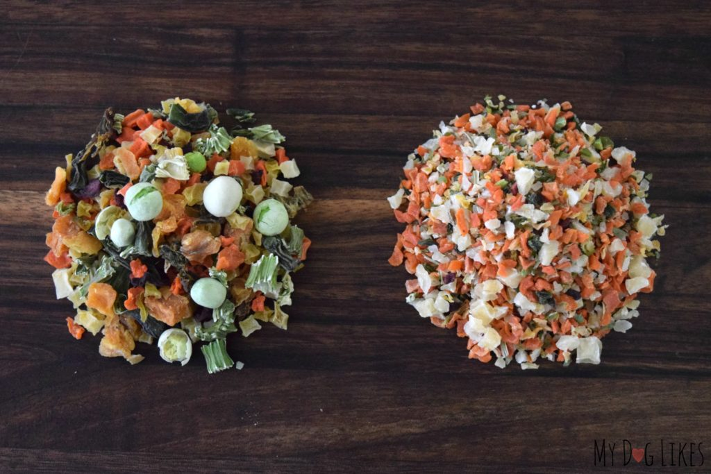 Comparing the textures of the original vs. fine ground Veg-to-Bowl