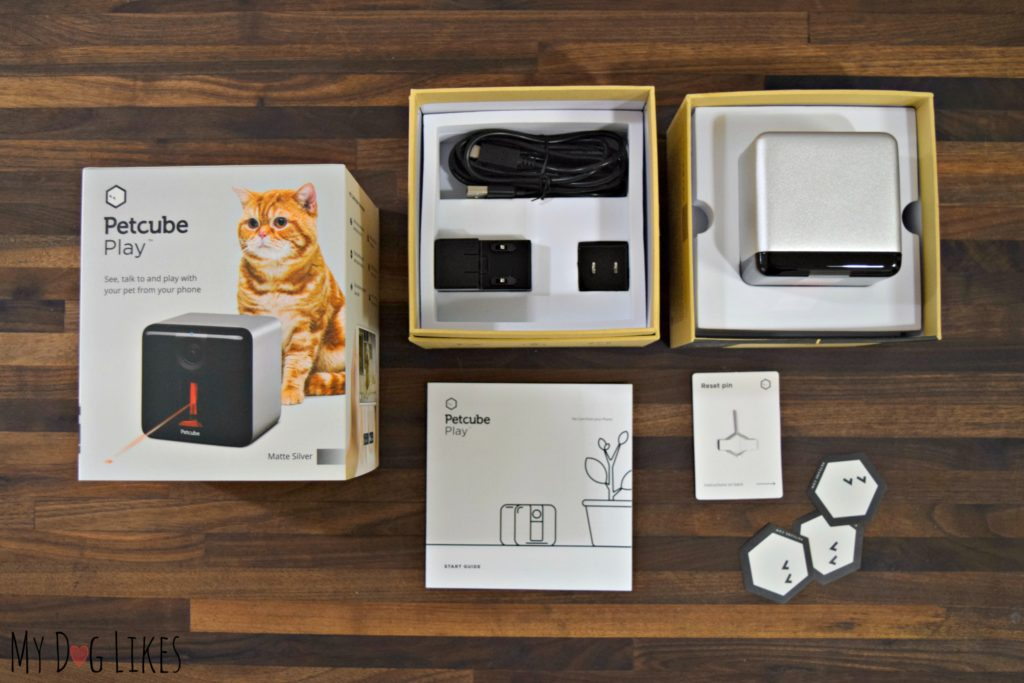 Inside the box you will find your Petcube camera, power charger, reset pin, and instruction manual.