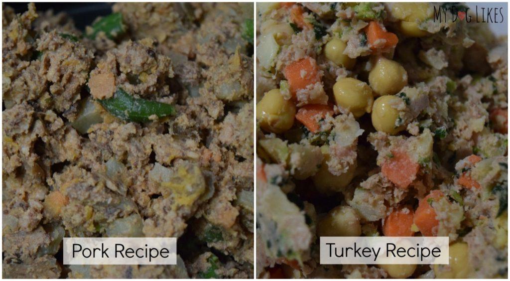 Closeup photos of The Farmer's Dog whole food recipes