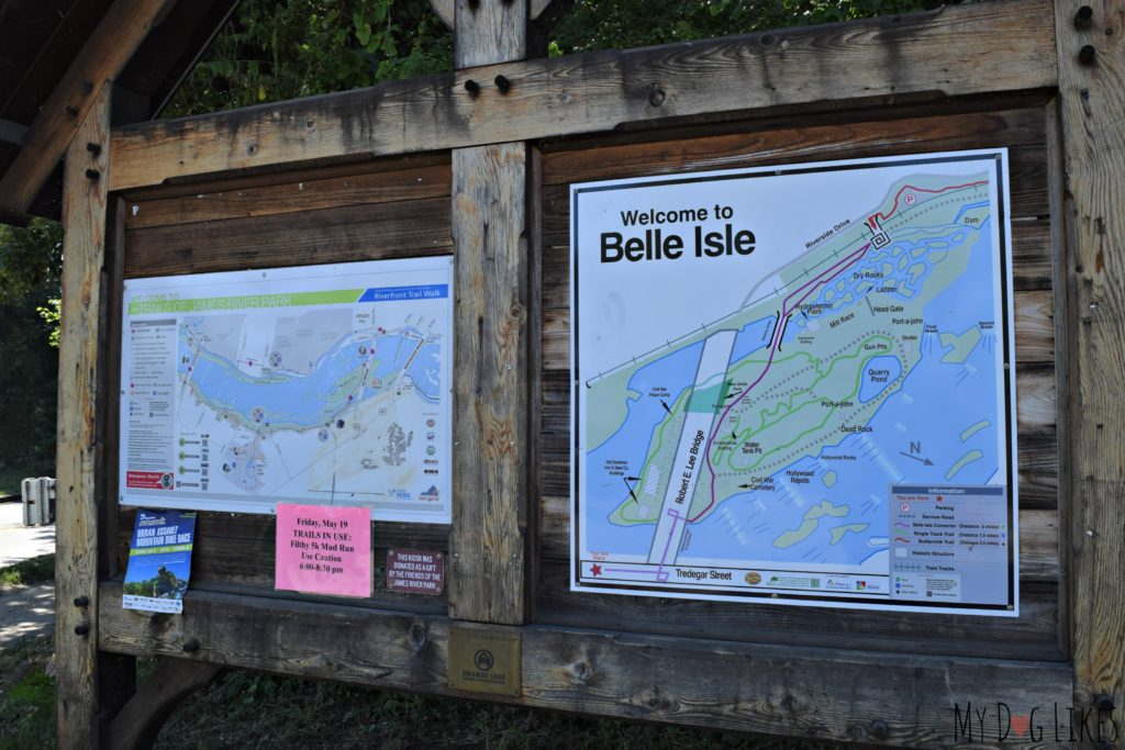 Checking out the trail map before heading out on Belle Isle in Richmond, VA