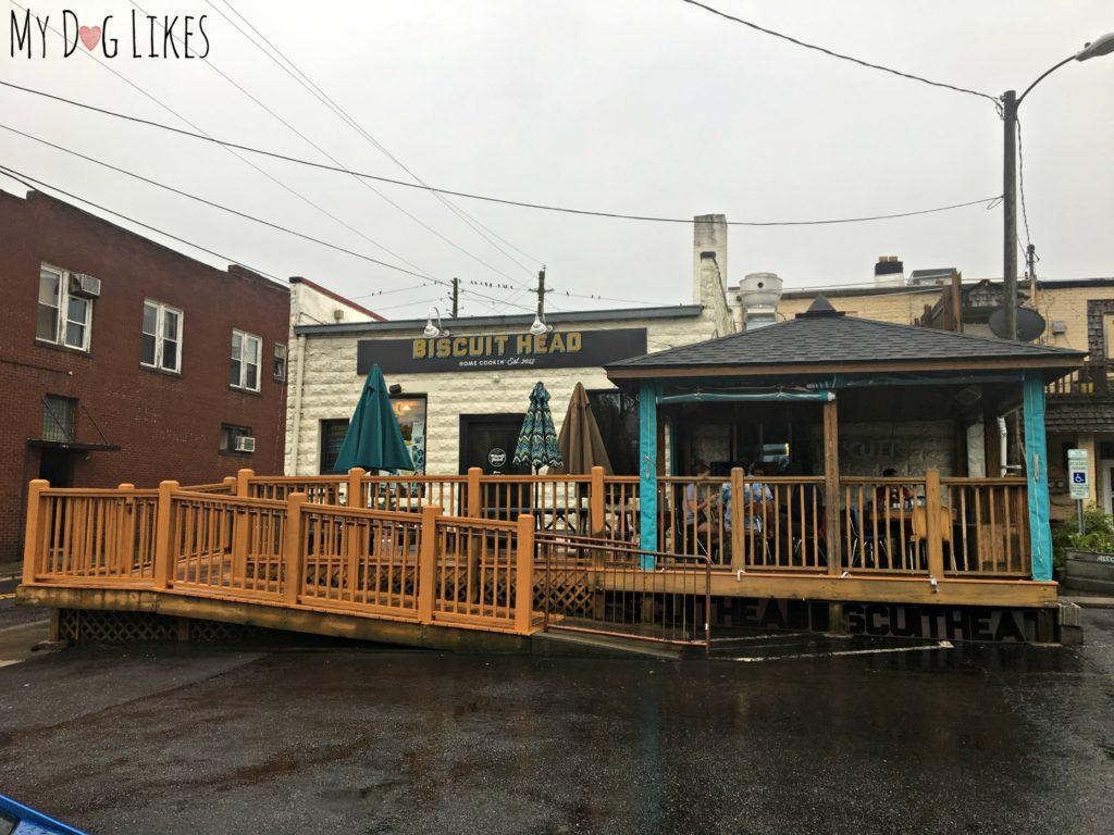 Biscuit Head's outdoor patio in West Asheville