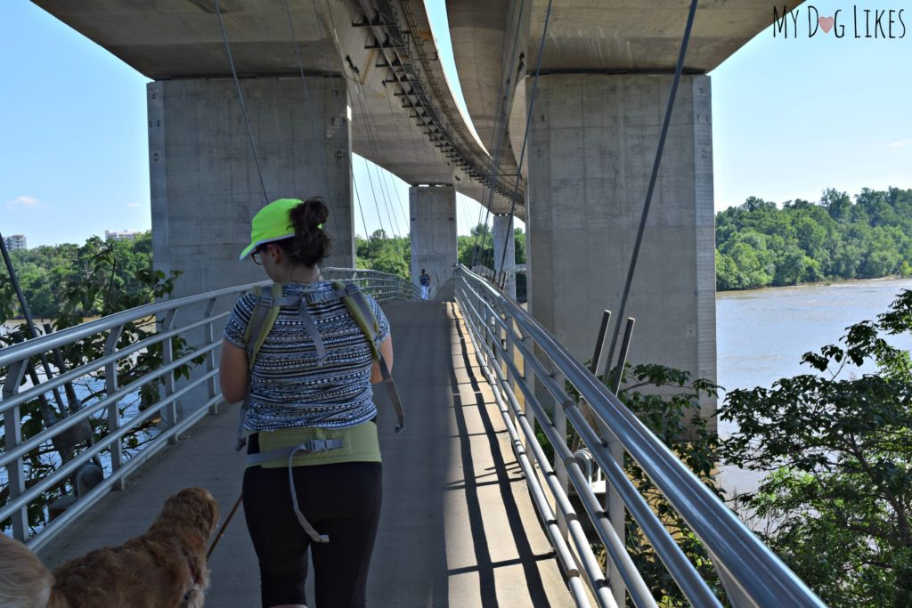 Walking the suspended pedestrian bridge over to Belle Isle