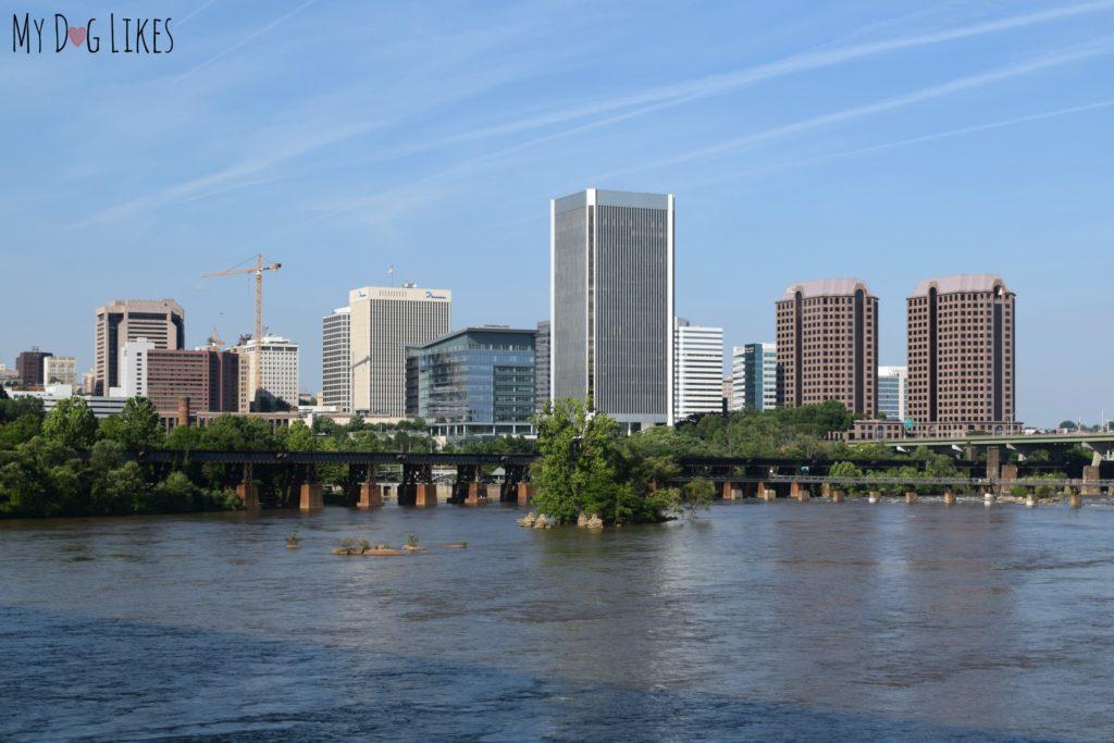 View of the Richmond, VA Skyline from the pedestrian bridge to Belle Isle