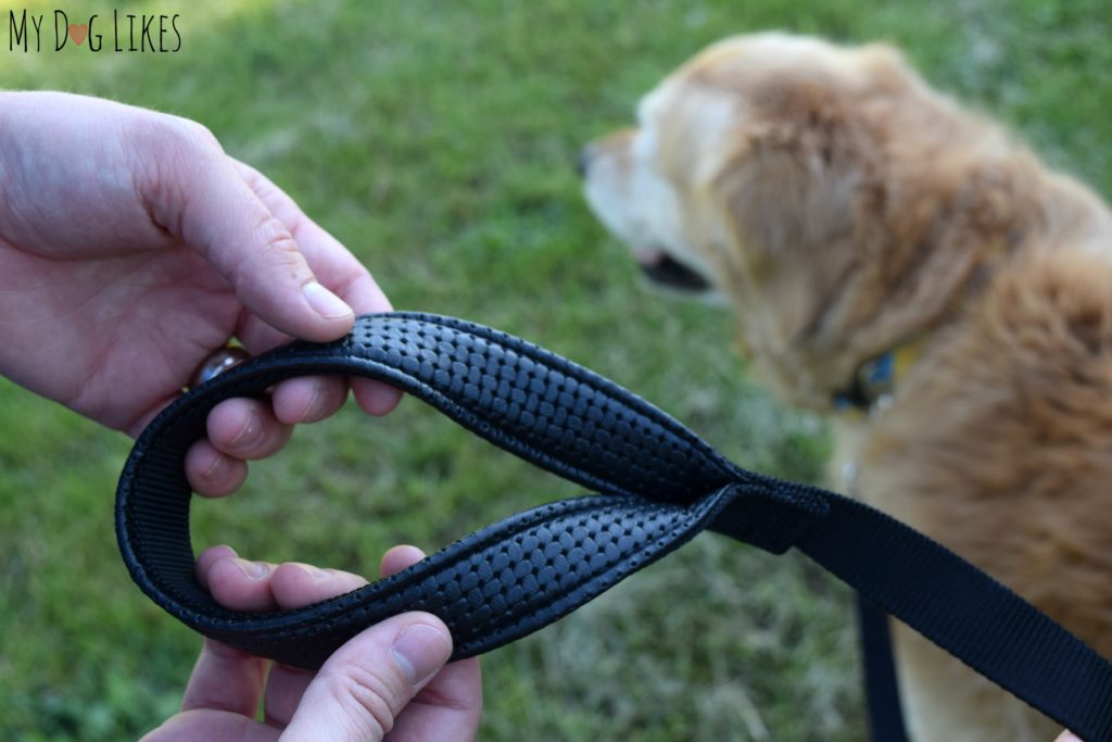Highlighting the padded handle of the Lucky & Co. dog leash