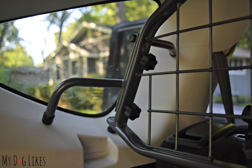 Powder coated steel frame fits perfectly against the cars interior molding