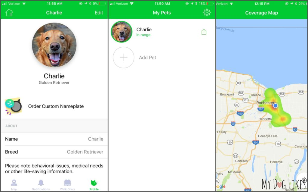 Looking at the Pawscout App profile and coverage map