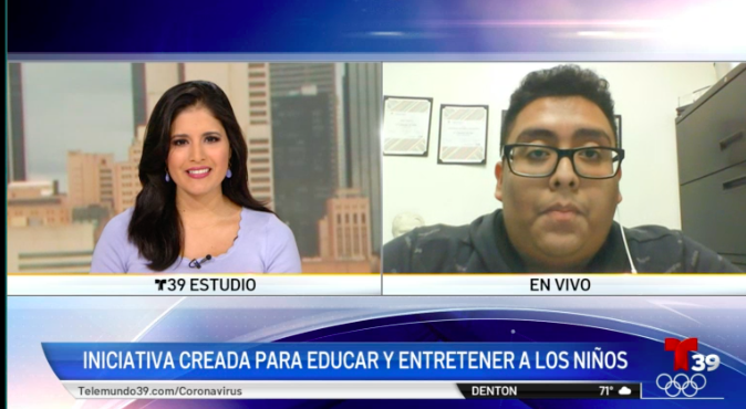 Screen capture of news interview