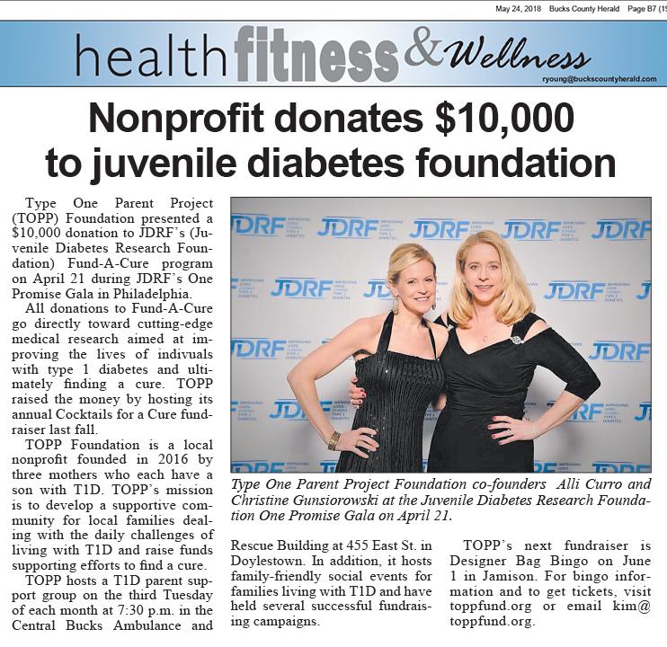 Bucks County Herald: Nonprofit donates $10,000 to juvenile diabetes foundation