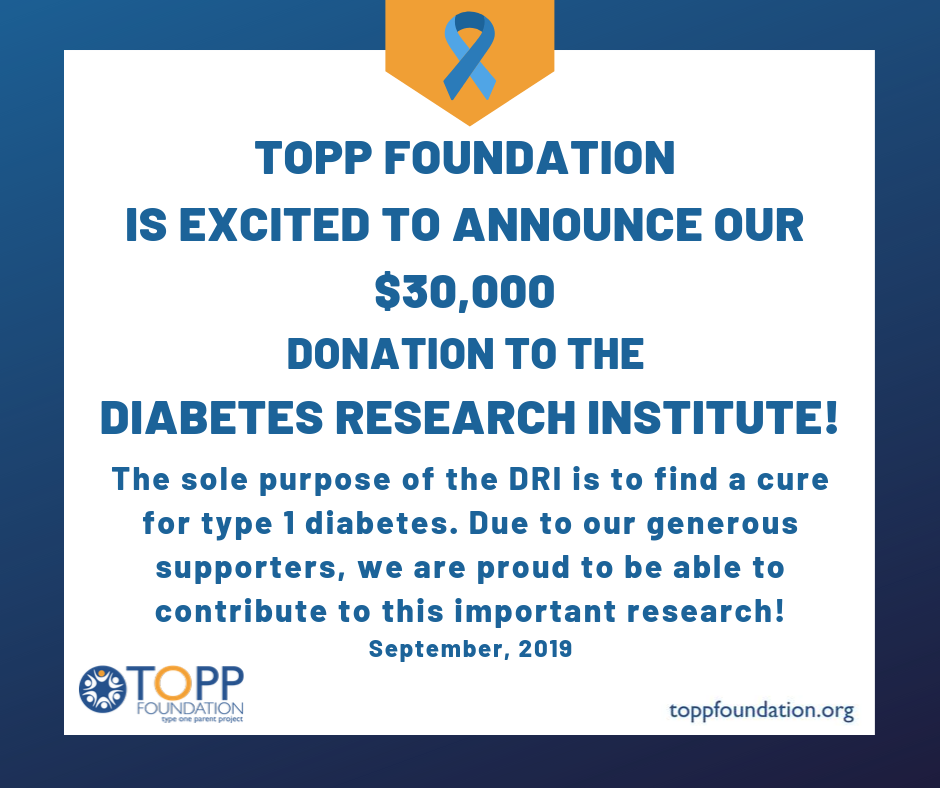 TOPP Foundation Donates $30,000 To Cure-Focused Type One Diabetes Research