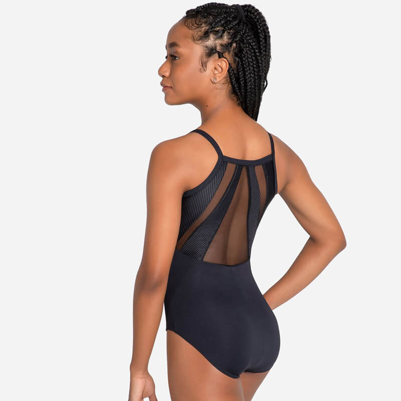 High Back Cami Leotard with Mesh and Ribbed Accent