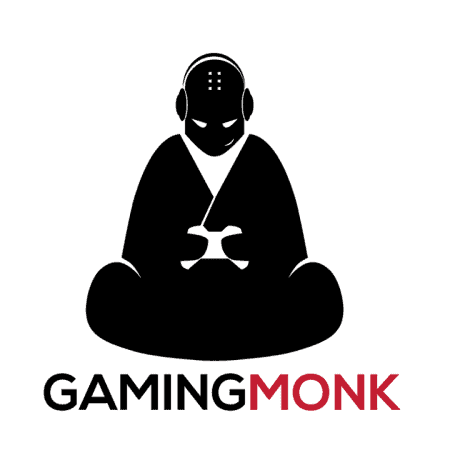 Gaming Monk Logo is the silhoutte of a monk sitting cross legged.