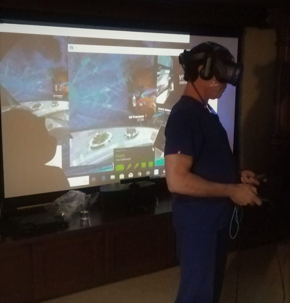 Customer experiencing his new VR set-up for the first time
