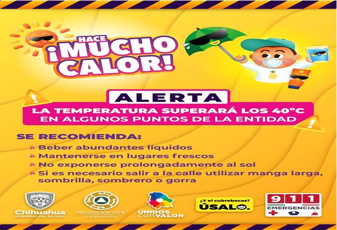 Emite Protección Civil aviso preventivo por altas temperaturas para los próximos días