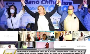 Emite Congresodeclaratoria de Gobernadora Electa a Maru Campos, para el periodo 2021- 2027