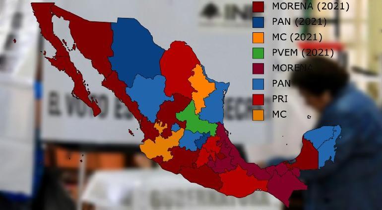Mapa de las 32 gubernaturas tras las elecciones; Morena tendrá 17, el PAN 8, PRI 4, MC 2 y PVEM 1