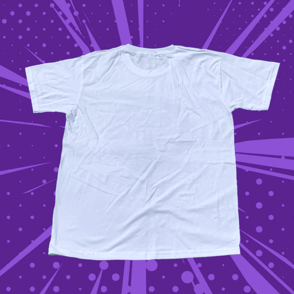 Plain white back of t-shirt on a purple background