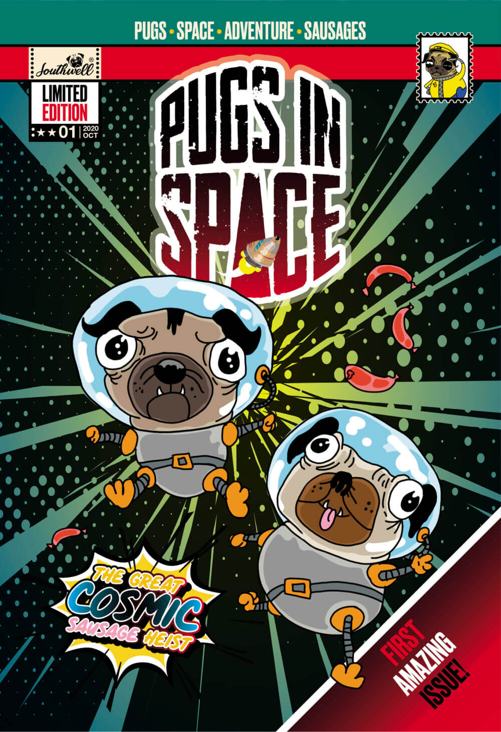 Pugs in Space Issue 01 cover design image.