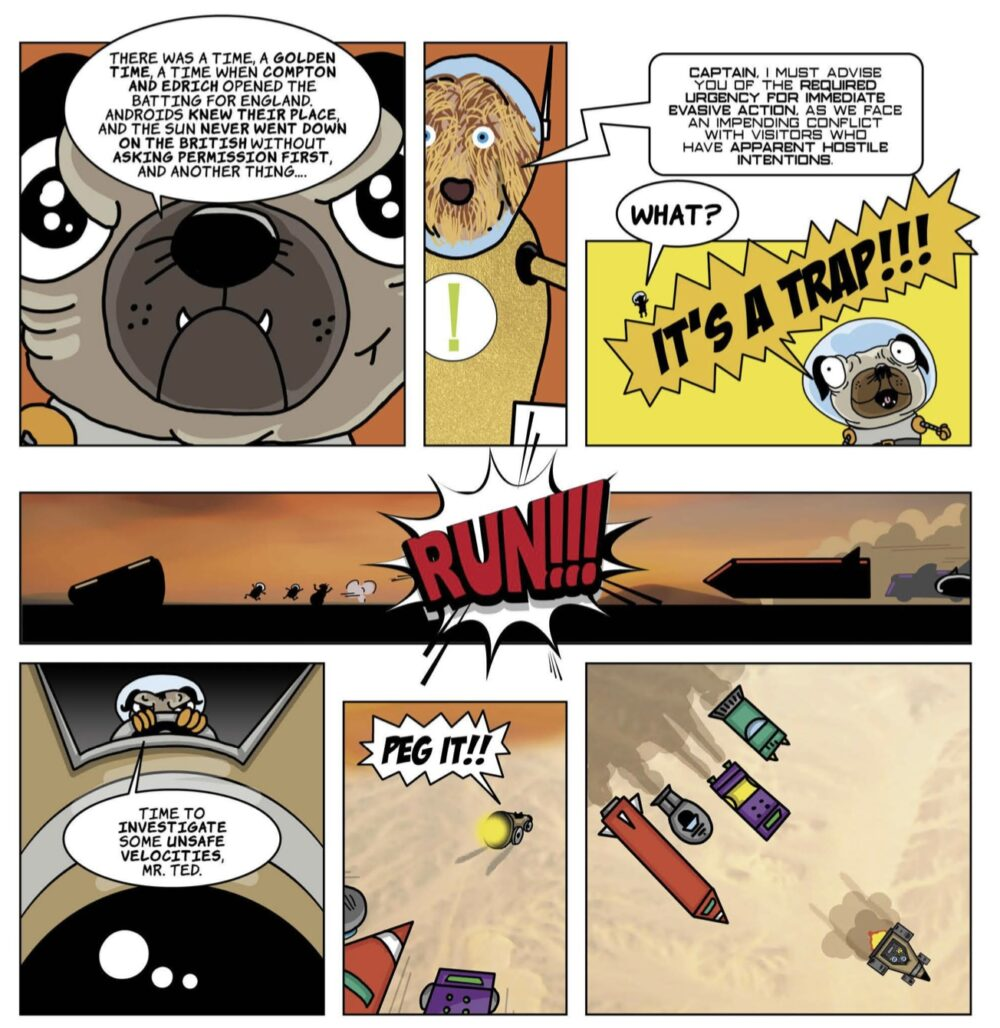 Cartoon scene from the pugs in space issue 01