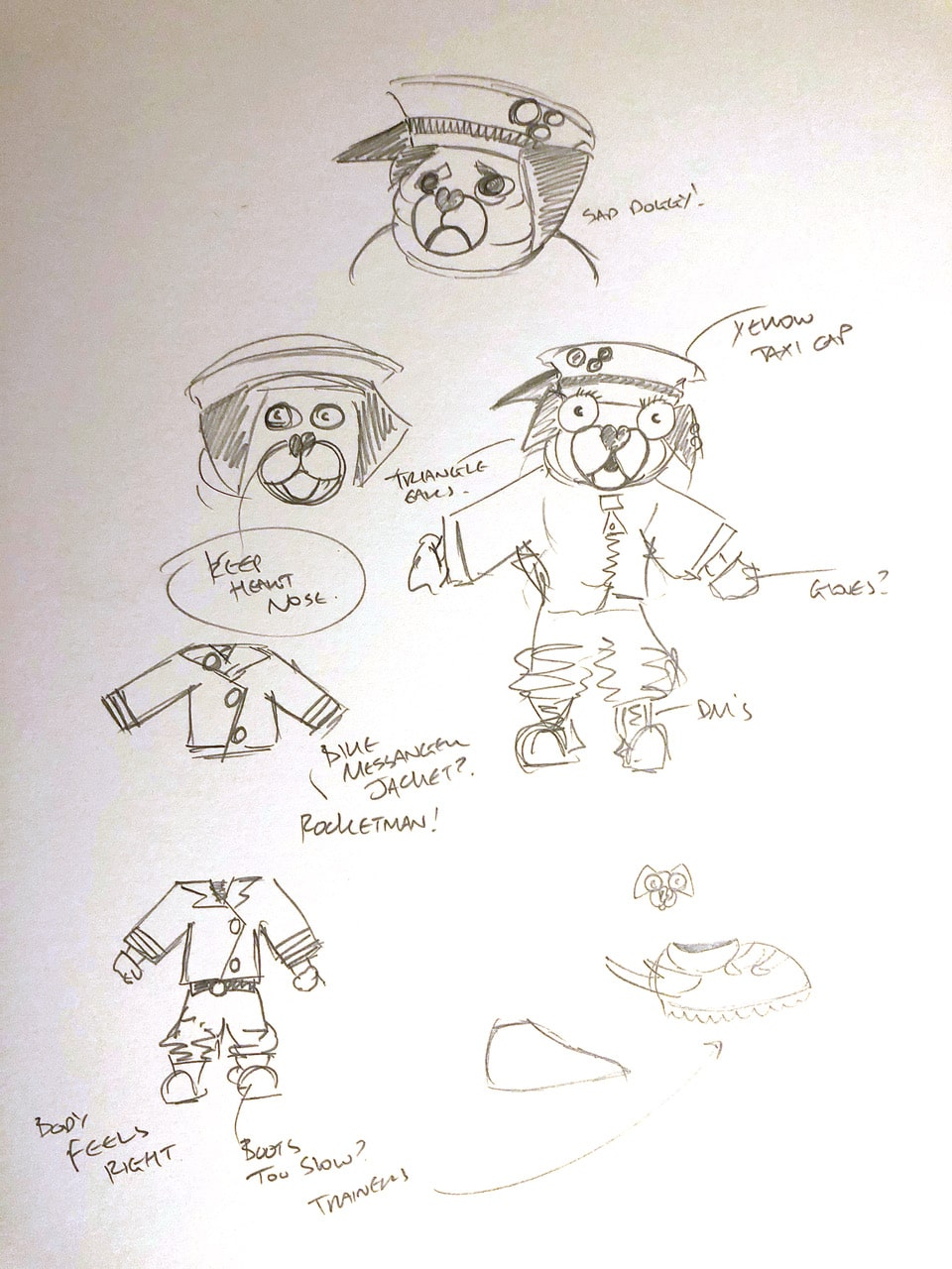 Character design sketches and outfits for Taser
