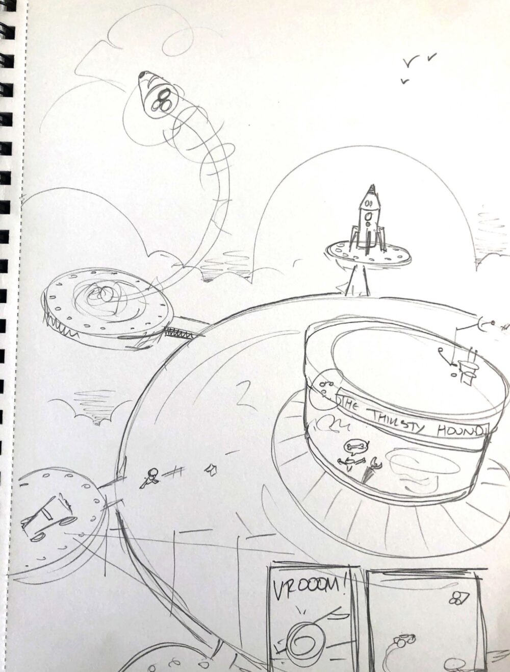 Sketchbook page of the pugs leaving The Thirsty Hound scene from Pugs in Space Issue 01.