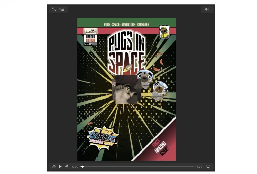 Pugs in Space Issue 01 comic with a cat image on top
