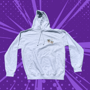 Grey hoodie on a purple cartoon background with two cartoon pugs in astronaut outfits floating on the front
