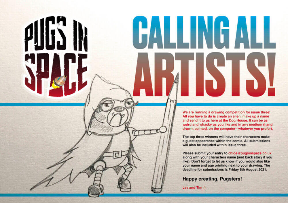 Drawing competition for Pugs In Space Comic Book