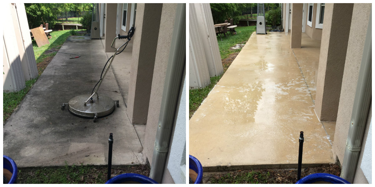 Pressure Washing Concrete Patio Cleaning Before and After