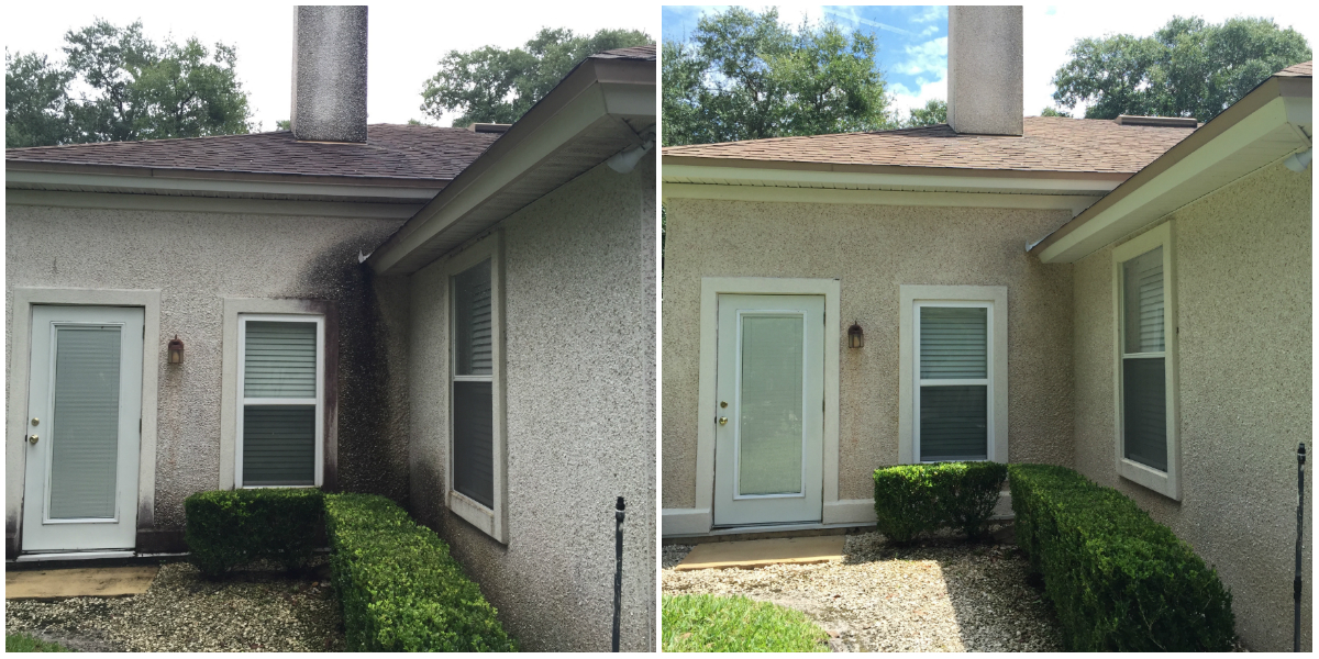 Coquina House Wash Before and After