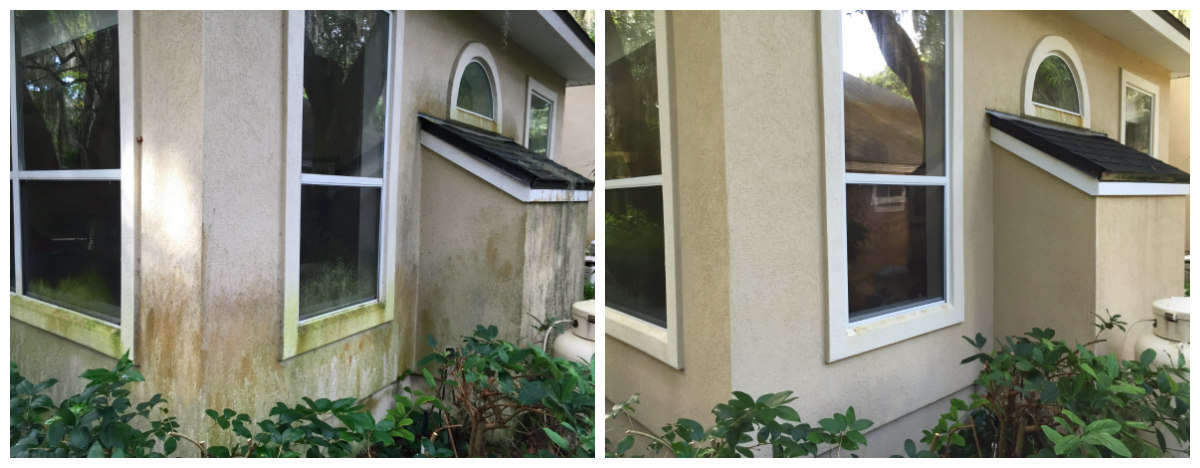 Stucco House Wash Before and After