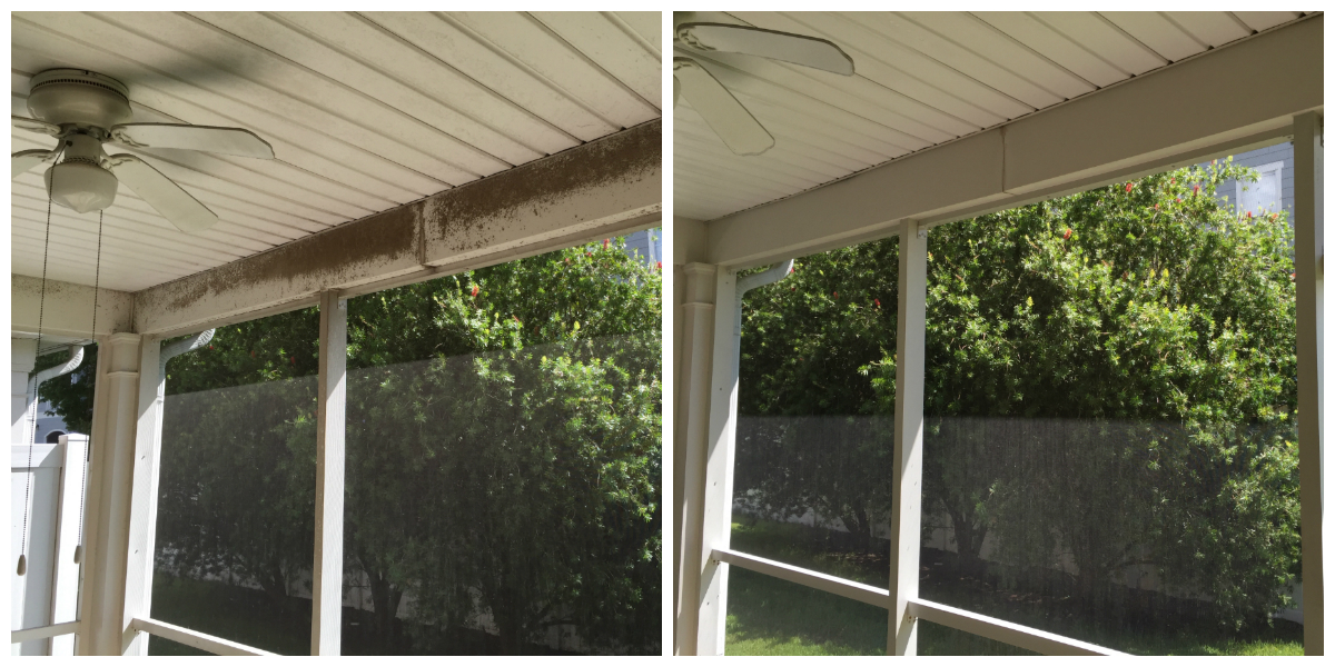 Vinyl Soffit Patio Cleaning Before and After