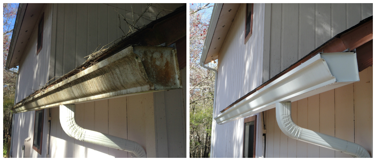 Exterior Gutter and Downspout Cleaning Before and After