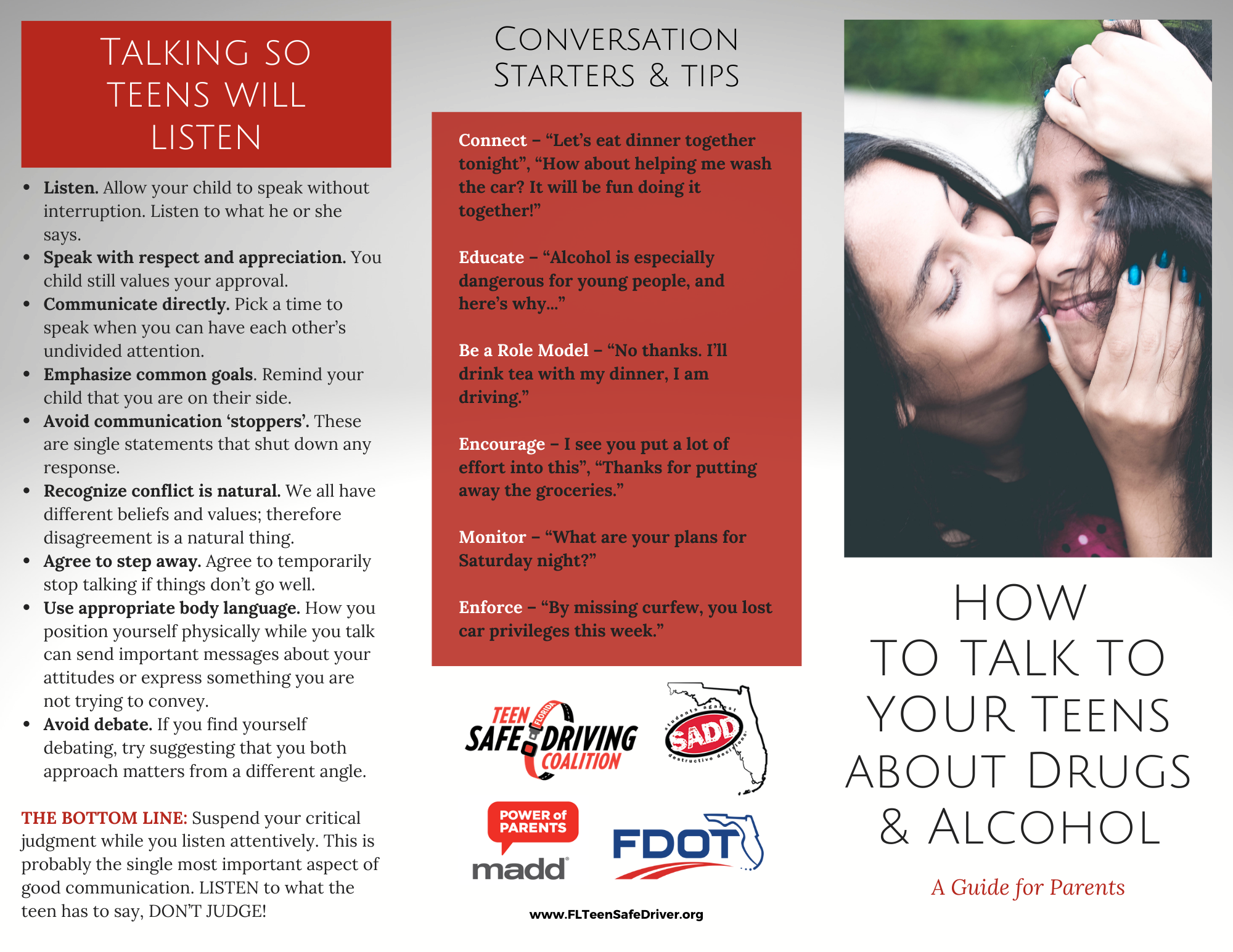How to talk to your teens about drugs and alcohol brochure 1